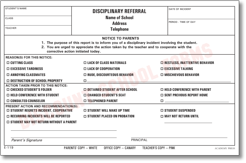disciplinary referral school forms